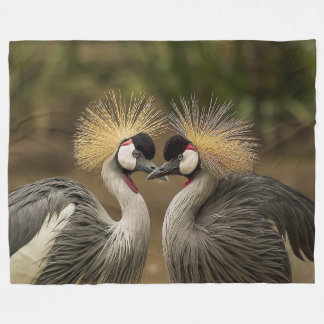 Grey Crowned Crane Birds Large Fleece Blanket