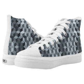 Grey cubes, geometric shapes, abstract design high tops