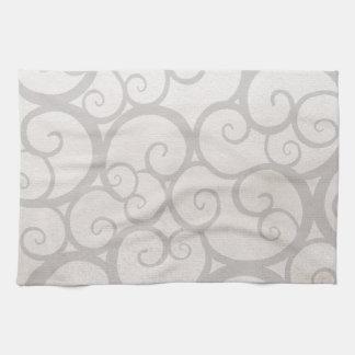 Grey curls lines tea towel