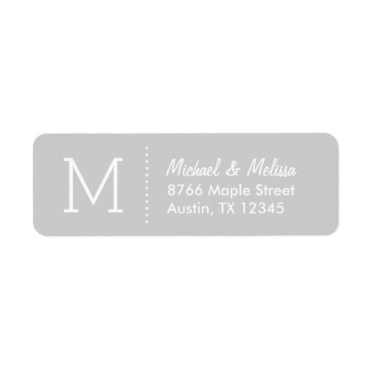 Grey Custom Monogram Return Address Label