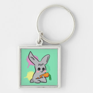 grey cute bunny with carrot keychain