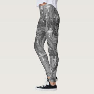 Grey Damask Crosses Goth Leggings