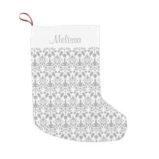 Grey Damask Pattern With Custom Name Small Christmas Stocking