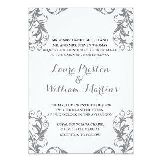 Grey Damask Wedding Invitation
