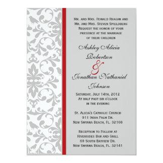 Grey Damask wedding invite