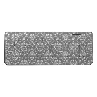 Grey Damask Wireless Keyboard