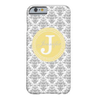 Grey Damask & Yellow Monogram iPhone 6 case Barely There iPhone 6 Case