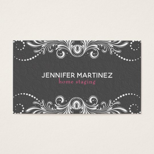 Grey Damasks And White Vintage Lace Business Card