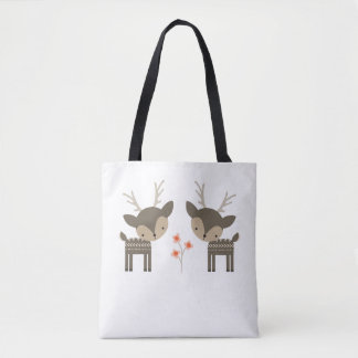 Grey Deer And Flowers Tote Bag