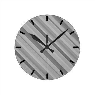 Grey diagonal stripes round clock