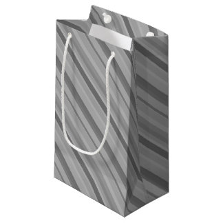 Grey diagonal stripes small gift bag