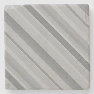 Grey diagonal stripes stone beverage coaster