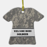 Grey Digital Camouflage - Welcome Home! Christmas Ornament