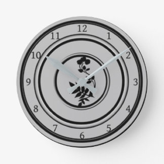 Grey Diner Plate Design Round Clock