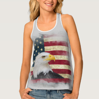Grey Distressed Patriotic US Flag , Bald Eagle Singlet