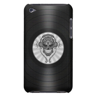 Grey Dj Sugar Skull on Vinyl Record Graphic iPod Touch Cases