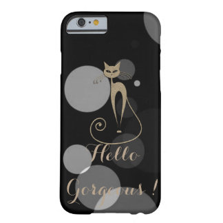 Grey Dots On Black Background,Cat,Hello Gorgeous Barely There iPhone 6 Case