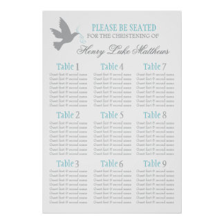 Grey dove aqua blue event seating table plan 1-9 poster
