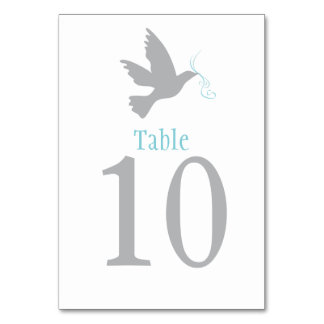 Grey dove bird wedding or occassion table number