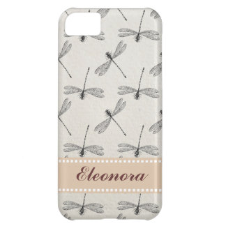 Grey Dragonfly Pattern iPhone 5C Case