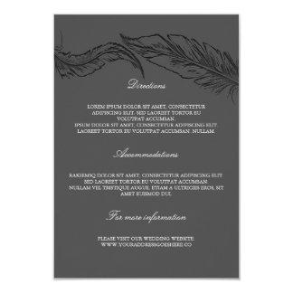 Grey Elegant Feathers Wedding Details 9 Cm X 13 Cm Invitation Card