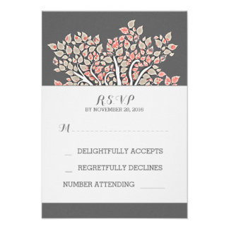 grey elegant old tree branches wedding RSVP cards