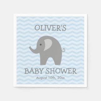 Grey elephant and blue chevron baby shower napkins disposable serviettes