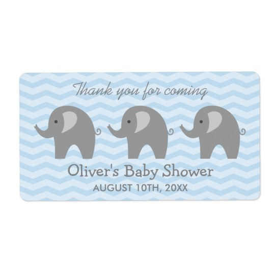 Grey elephant baby shower water bottle stickers