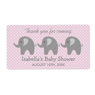 Grey elephant baby shower water bottle stickers shipping label
