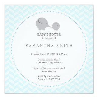 Grey Elephant ı Baby Shower Invitation