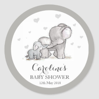 Grey Elephant Love Blue Baby Shower Sticker Round Sticker