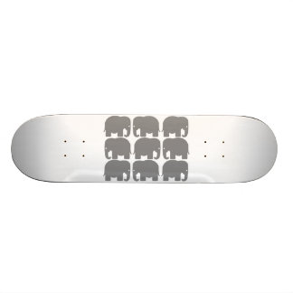 Grey Elephants Silhouette Skateboard