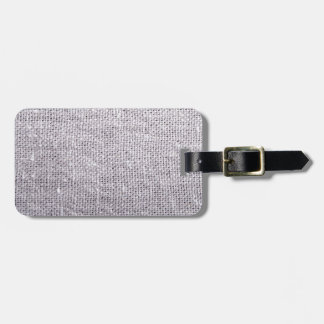 Grey fabric background burlap luggage tag