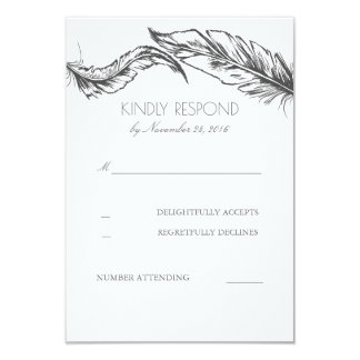 Grey Feathers White Elegant Wedding RSVP Card