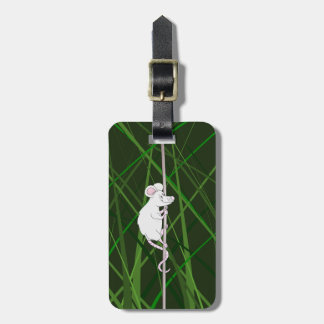 Grey field mouse in the tall grass luggage tag