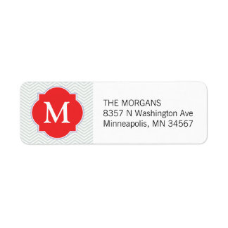 Grey & Firebrick 2 Modern Chevron Custom Monogram Return Address Label