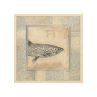 Grey Fish on Beige Background Wood Wall Decor