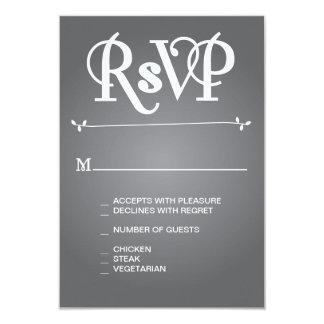 Grey Floral Ampersand RSVP 9 Cm X 13 Cm Invitation Card