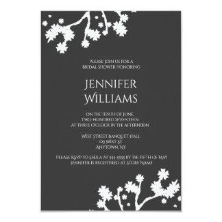 Grey floral bridal shower invitations