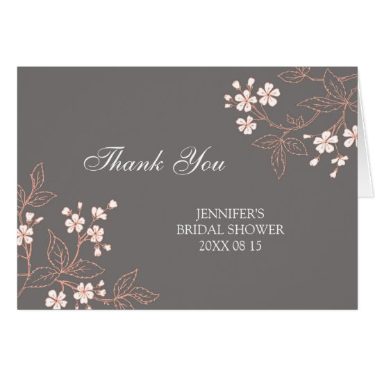 Grey Floral Bridal Shower Thank You Card