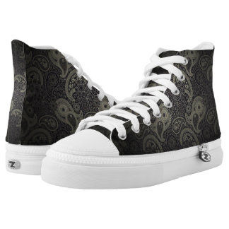 Grey Floral Paisley Pattern Fades To Black High Tops