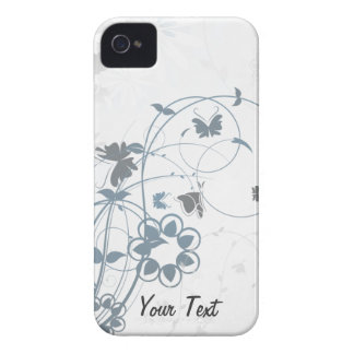 Grey Flowers Butterfly - Personalize iPhone 4 Covers
