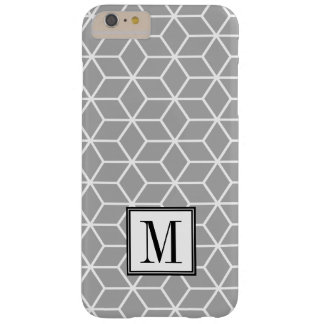 Grey Geometric Pattern Initial Monogram Barely There iPhone 6 Plus Case