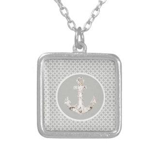 Grey Geometric Pattern Preppy Coastal Anchor Silver Plated Necklace