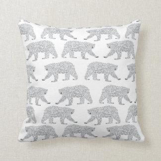 Grey Geometric Polar Bear Design - Minimal Baby Cushion