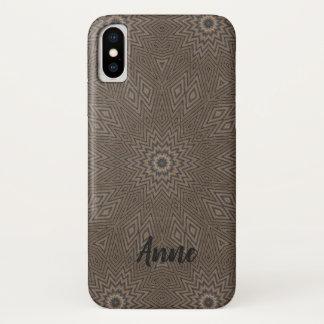 Grey Geometrical Fractal iPhone X Case