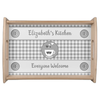 Grey gingham name kitchen serving tray