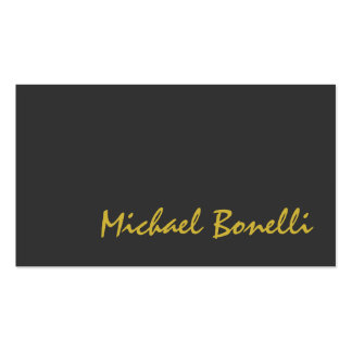 Grey Gold Color Handwriting Script Business Card