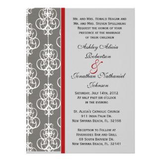 Grey Gray Damask wedding invite