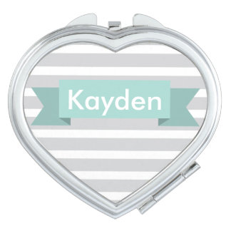 Grey Gray Mint Stripe Custom Name Mirrors For Makeup
